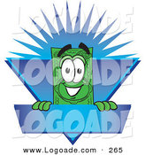 Logo of a Happy Smiling Dollar Bill Mascot Cartoon Character on a Blank Blue Label with a Burst by Toons4Biz
