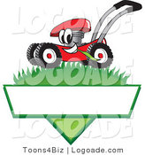 Logo of a Happy Smiling Red Lawn Mower Mascot Cartoon Character Mowing Grass over a Blank White Label by Toons4Biz