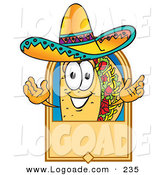 Logo of a Happy Taco Mascot Cartoon Character on a Blank Tan Label, Logo or Sign by Toons4Biz