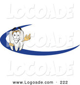 Logo of a Happy Tooth Mascot Cartoon Character Behind a Dash on an Employee Nametag or Business Logo by Toons4Biz