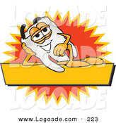 Logo of a Happy Tooth Mascot Cartoon Character Reclining on a Yellow and Orange Business Label by Toons4Biz
