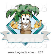 Logo of a Happy Tropical Palm Tree Mascot Cartoon Character over a Blank Banner on a Travel Business Label Logo by Toons4Biz