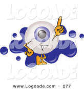Logo of a Helpful Eyeball Mascot Cartoon Character Pointing Upwards and Standing in Front of a Blue Paint Splatter on a Logo by Toons4Biz