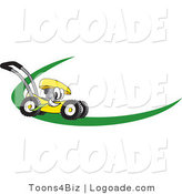 Logo of a Helpful Yellow Lawn Mower Mascot Cartoon Character on a Logo or Nametag with a Green Dash by Toons4Biz