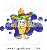 Logo of a Hispanic Taco Mascot Cartoon Character Standing in Front of a Blue Paint Splatter on a Business Logo by Toons4Biz