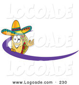 Logo of a Hispanic Taco Mascot Cartoon Character Waving and Standing Behind a Purple Dash on an Employee Nametag or Business Logo by Toons4Biz