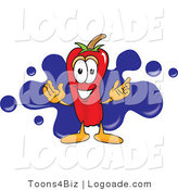 Logo of a Hot Chili Pepper Mascot Cartoon Character with a Blue Paint Splatter Behind by Toons4Biz