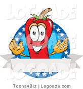 Logo of a Hot Chili Pepper Mascot Cartoon Character with Stars and a Blank White Label by Toons4Biz
