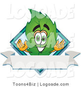 Logo of a Leaf Mascot Cartoon Character with a Blue Diamond and Blank Ribbon Label by Toons4Biz