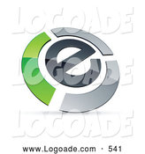 Logo of a Letter E Circled by Chrome and Green Bars by Beboy