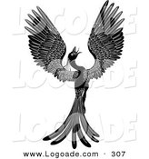 Logo of a Majestic Black Phoenix Fantasy Bird Opening Its Wings and Facing Right by AtStockIllustration