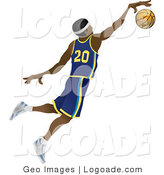 Logo of a Male African American Basketball Athlete Jumping with the Ball for a Slam Dunk by AtStockIllustration