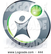 Logo of a Man Reaching up to a Green Ball in a Circle, Above Space for a Business Name and Company Slogan by Beboy