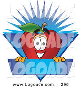 Logo of a Nutritious Red Apple Character Mascot Label with a Blue BurstNutritious Red Apple Character Mascot Label with a Blue Burst by Toons4Biz