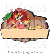 Logo of a Nutritious Relaxing Red Apple Character Mascot Label by Toons4Biz