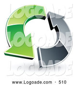 Logo of a Pair of Green and Chrome Arrows Circling by Beboy