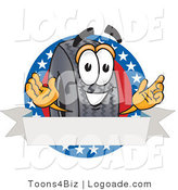 Logo of a Patriotic Black Rubber Tire Mascot Cartoon Character with Stars and a Blank White Label by Toons4Biz