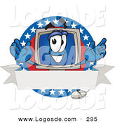 Logo of a Patriotic Desktop Computer Mascot Cartoon Character on a Blank Label with an American ThemePatriotic Desktop Computer Mascot Cartoon Character on a Blank Label with an American Theme by Toons4Biz