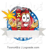 Logo of a Patriotic Dynamite Mascot Cartoon Character with Stars and a Blank Ribbon Label by Toons4Biz
