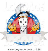 Logo of a Patriotic Grinning Wrench Mascot Cartoon Character over a Blank White Banner on an American Themed Business Logo by Toons4Biz