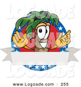 Logo of a Patriotic Happy Palm Tree Mascot Cartoon Character on an American Business Logo by Toons4Biz