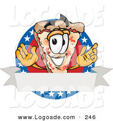 Logo of a Patriotic Pizza Mascot Cartoon Character over a Blank White Banner on an American Themed Business Logo by Toons4Biz