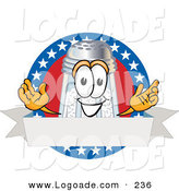 Logo of a Patriotic Smiling Salt Shaker Mascot Cartoon Character over a Blank White Banner on an American Themed Logo by Toons4Biz
