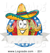 Logo of a Patriotic Smiling Taco Mascot Cartoon Character over a Blank White Banner on an American Themed Business Logo by Toons4Biz