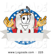 Logo of a Patriotic White Tooth Mascot Cartoon Character on an American Business Label by Toons4Biz