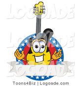 Logo of a Patriotic Yellow and Black Guitar Mascot Cartoon Character Logo with Stars and a Blank Label by Toons4Biz