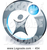 Logo of a Person Reaching up to a Blue Ball in a Circle, Above Space for a Business Name and Company Slogan by Beboy