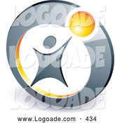 June 18th, 2013: Logo of a Person Reaching up to a Yellow Ball in a Circle, Above Space for a Business Name and Company Slogan on White by Beboy