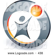 Logo of a Person Reaching up to an Orange Ball Locked in a Circle, Above Space for a Business Name and Company Slogan by Beboy