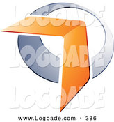 Logo of a Pre-Made Logo Design of an Orange Boomerang or Arrow over a Chrome Circle, to the Left of Space for a Business Name and Company Slogan by Beboy