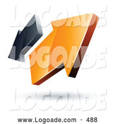 August 16th, 2013: Logo of a Pre-Made Logo of 3d Orange and Gray Arrows Going in Opposite Directions by Beboy