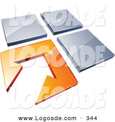 February 19th, 2013: Logo of a Pre-Made Logo of an Arrow in an Orange Flooring Tile, Beside Three Gray Tiles by Beboy