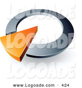 Logo of a Pre-Made Logo of an Orange Arrow Completing a Silver Circular Dial, Above Space for a Business Name and Company Slogan by Beboy