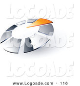 Logo of a Pre-Made Logo of an Orange Arrow Pointing Inwards in a Circle of Chrome Squares, with Space for a Business Name and Company Slogan Below on White by Beboy