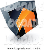 Logo of a Pre-Made Logo of an Orange Arrow Pointing up on a Tilted Black Cube, Above Space for a Business Name and Company Slogan by Beboy