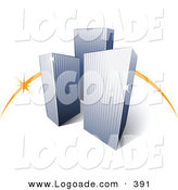 Logo of a Pre-Made Logo of an Orange Curve Behind Three Tall City Skyscrapers Above Space for a Business Name and Company Slogan by Beboy