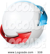 Logo of a Pre-Made Logo of Blue and Red Arrows Surrounding a White Orb, with Space for a Business Name and Company Slogan by Beboy