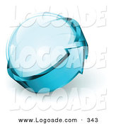Logo of a Pre-Made Logo of Blue Arrow Circling a Shiny Glass Sphere, with Space for a Business Name and Company Slogan by Beboy