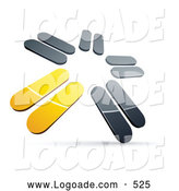Logo of a Pre-Made Logo of Chrome and Yellow Blades Spinning on White by Beboy