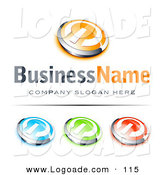 Logo of a Pre-Made Logo of Four Orange and Chrome Power Button, Blue Green and Red Buttons Also Included, with Space for a Business Name and Company Slogan Below by Beboy
