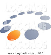 Logo of a Pre-Made Logo of One Orange Dot in a Ring of Blue and Gray Dots, Above Space for a Business Name and Company Slogan on White by Beboy