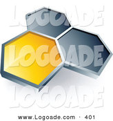 Logo of a Pre-Made Logo of One Yellow Honeycomb Connected to Two Others, Above Space for a Business Name and Company Slogan over White by Beboy