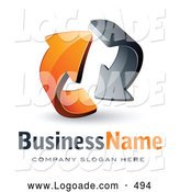 Logo of a Pre-Made Logo of Rotating Gray and Orange Circling Arrows by Beboy