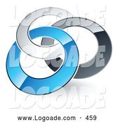 Logo of a Pre-Made Logo of Silver, Gray and Blue Rings Entwined on White by Beboy