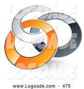 August 3rd, 2013: Logo of a Pre-Made Logo of Silver, Gray and Orange Rings Entwined on White by Beboy