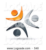 October 9th, 2013: Logo of a Pre-Made Logo of Three Orange, Chrome and Black People Celebrating or Dancing Together by Beboy